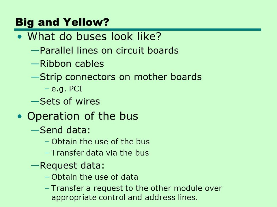 Big and Yellow What do buses look like Operation of the bus