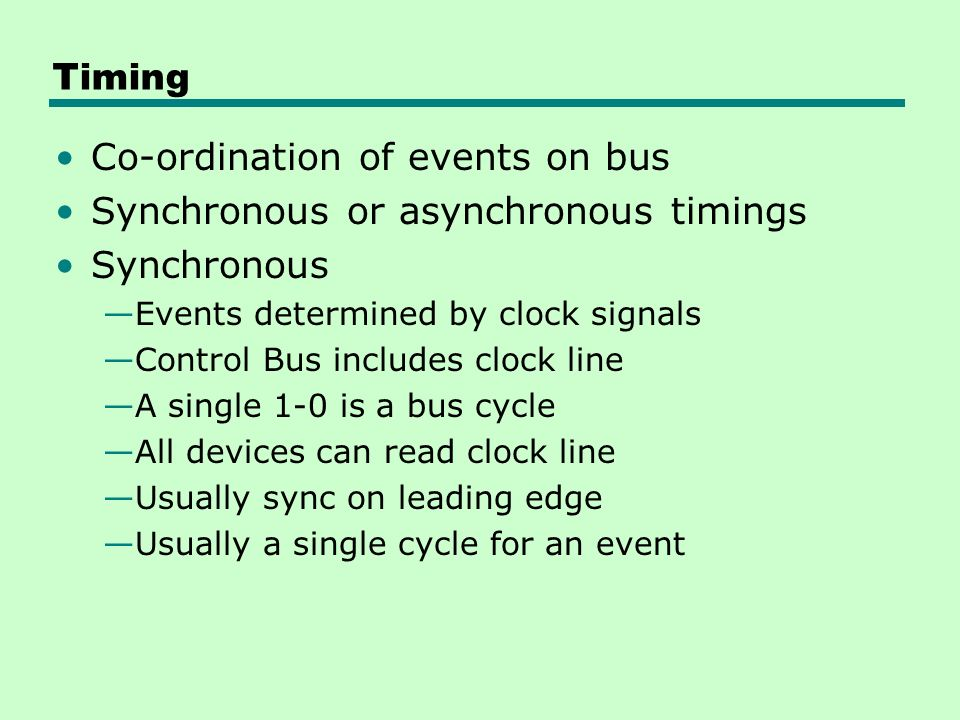 Co-ordination of events on bus Synchronous or asynchronous timings