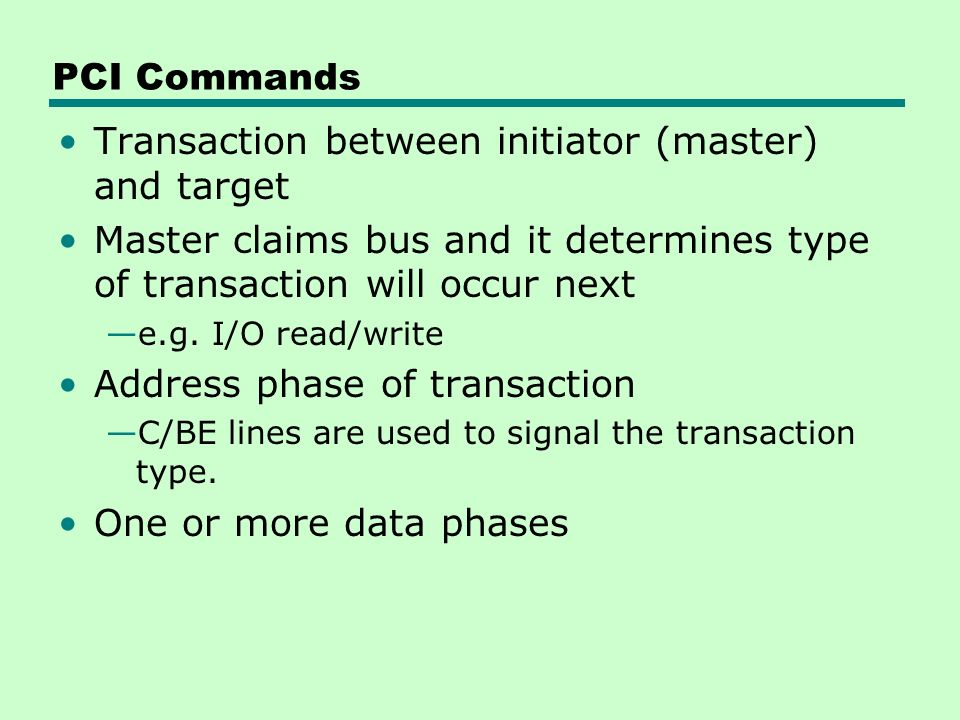 Transaction between initiator (master) and target