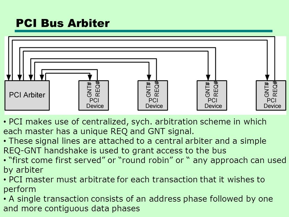 PCI Bus Arbiter PCI makes use of centralized, sych. arbitration scheme in which each master has a unique REQ and GNT signal.