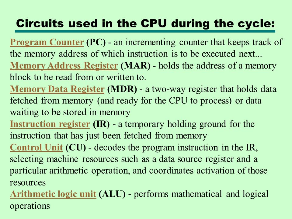 Circuits used in the CPU during the cycle: