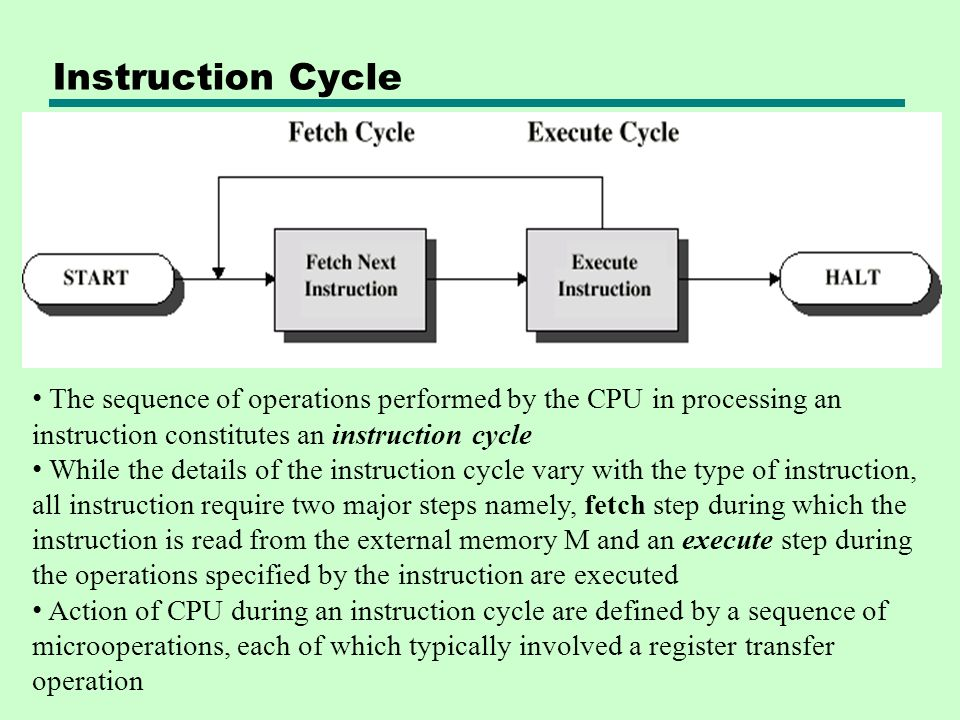 Instruction Cycle The sequence of operations performed by the CPU in processing an instruction constitutes an instruction cycle.