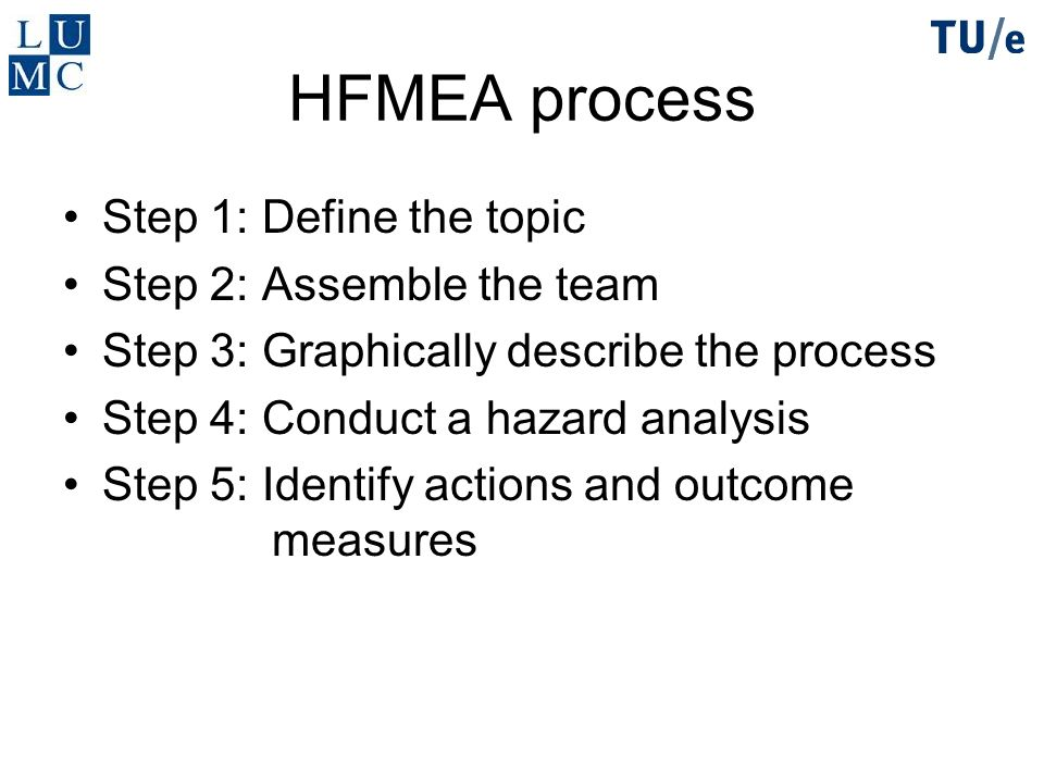 HFMEA process Step 1: Define the topic Step 2: Assemble the team