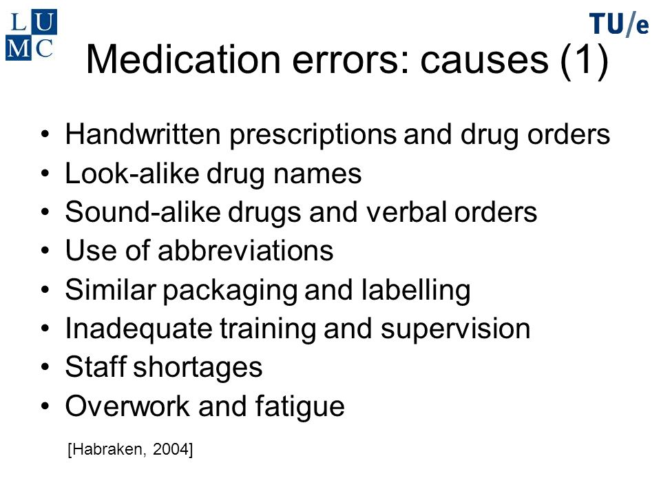 Medication errors: causes (1)