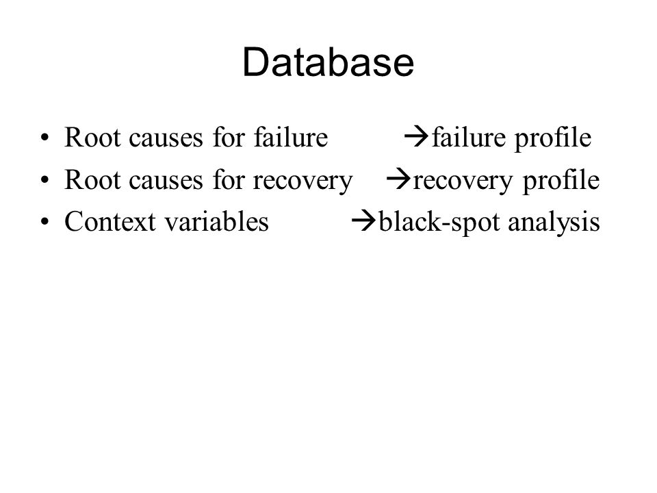 Database Root causes for failure failure profile