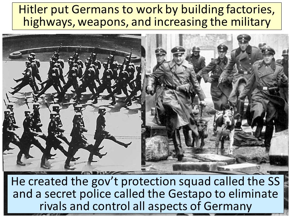 Hitler put Germans to work by building factories, highways, weapons, and increasing the military