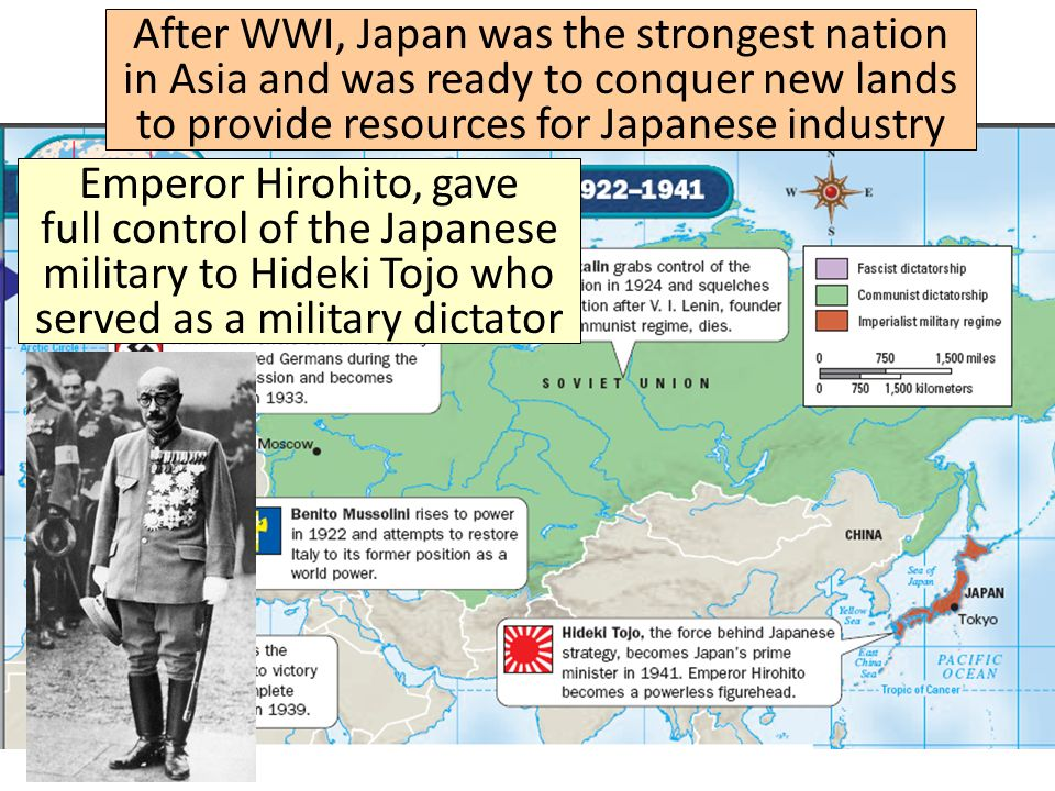 After WWI, Japan was the strongest nation in Asia and was ready to conquer new lands to provide resources for Japanese industry