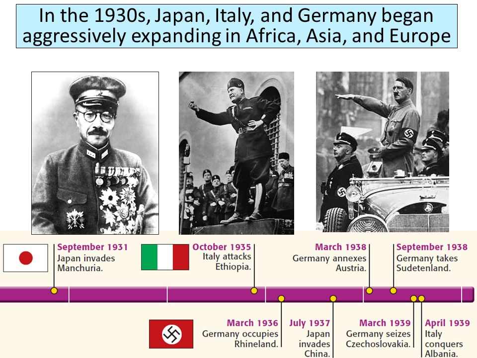 In the 1930s, Japan, Italy, and Germany began aggressively expanding in Africa, Asia, and Europe