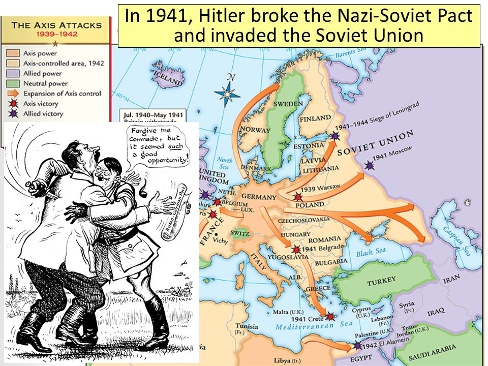 In 1941, Hitler broke the Nazi-Soviet Pact and invaded the Soviet Union