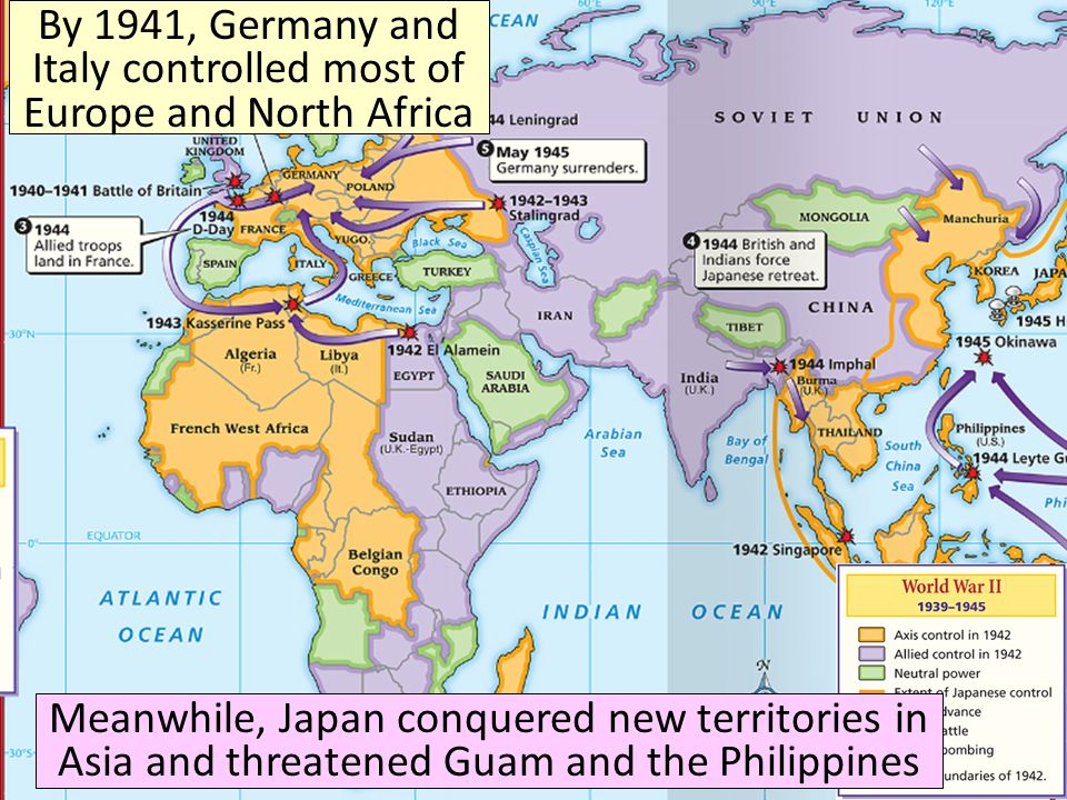 By 1941, Germany and Italy controlled most of Europe and North Africa