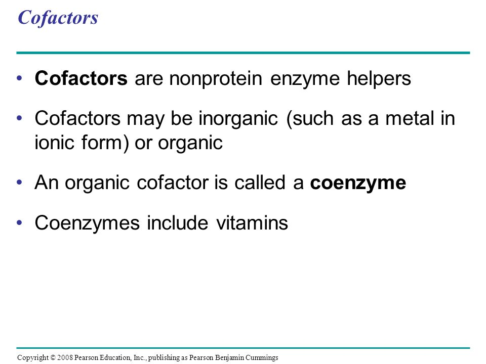 Cofactors are nonprotein enzyme helpers