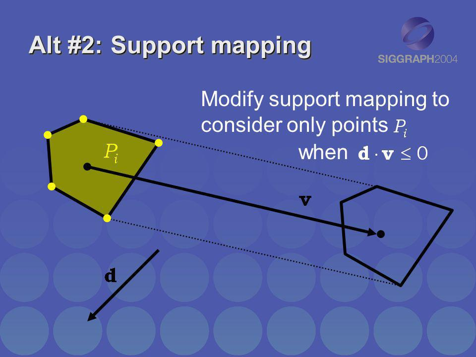 Alt #2: Support mapping Modify support mapping to consider only points