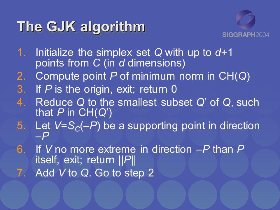 The GJK algorithm Initialize the simplex set Q with up to d+1 points from C (in d dimensions) Compute point P of minimum norm in CH(Q)
