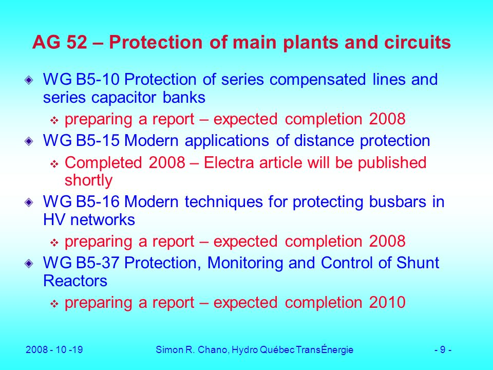 AG 52 – Protection of main plants and circuits