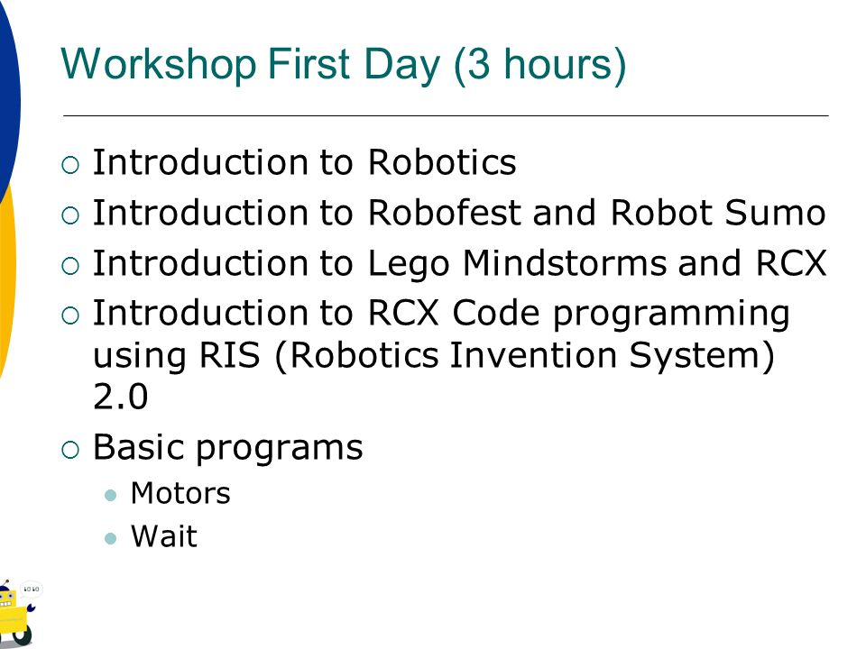 Introduction to LEGO RCX robotics and Robot Sumo - ppt video online
