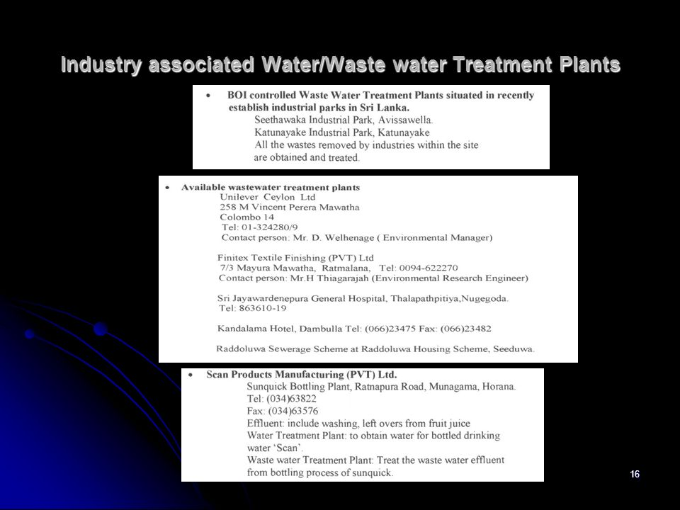 Industry associated Water/Waste water Treatment Plants