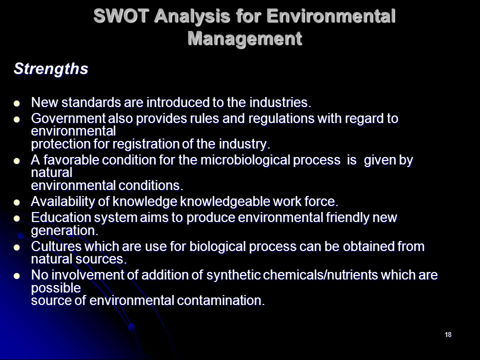 SWOT Analysis for Environmental Management