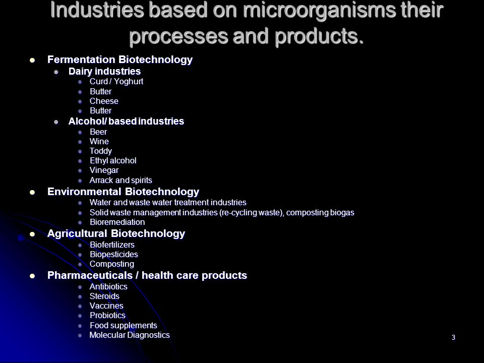 Industries based on microorganisms their processes and products.