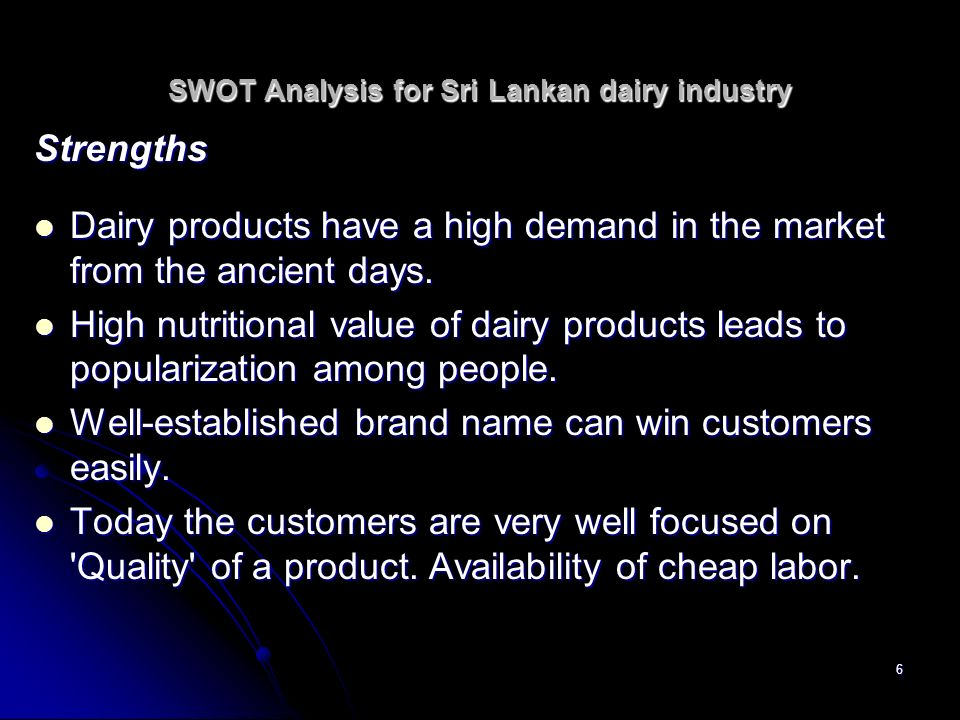 SWOT Analysis for Sri Lankan dairy industry