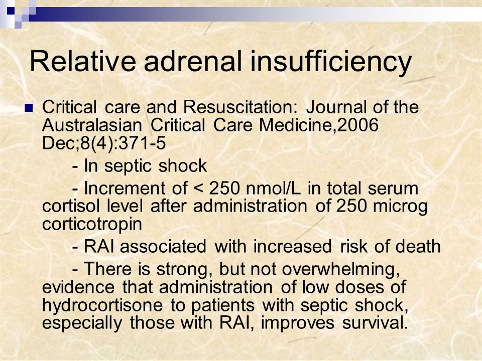 Relative adrenal insufficiency