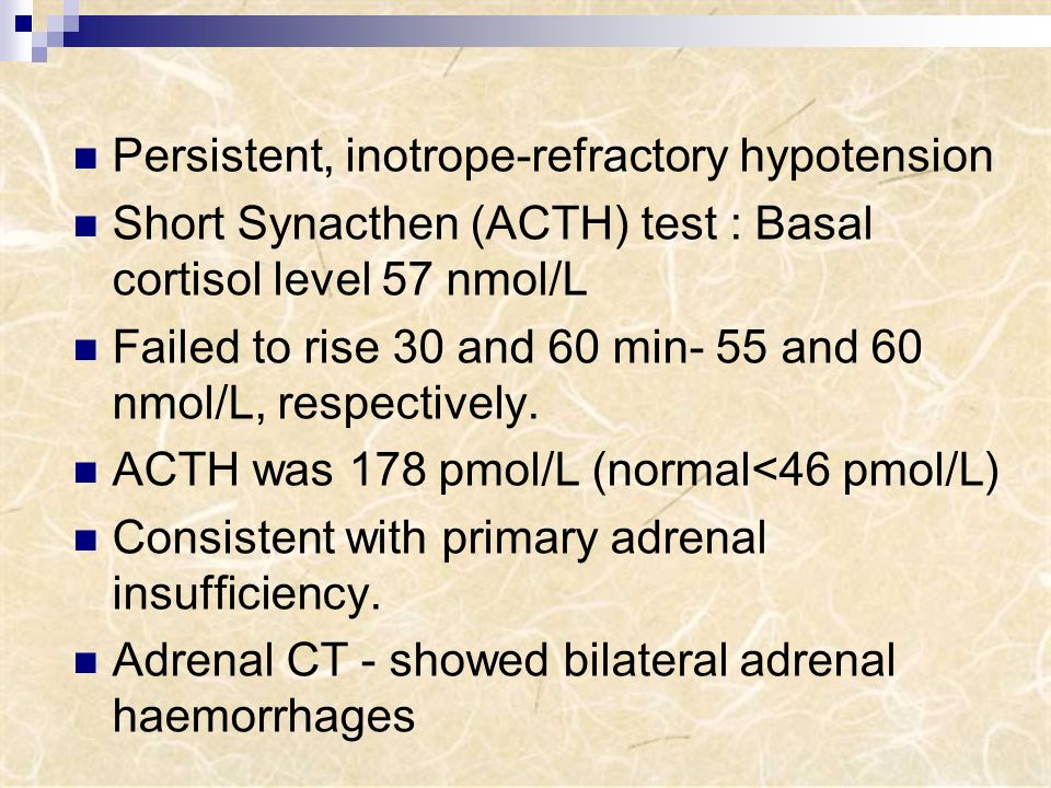Persistent, inotrope-refractory hypotension