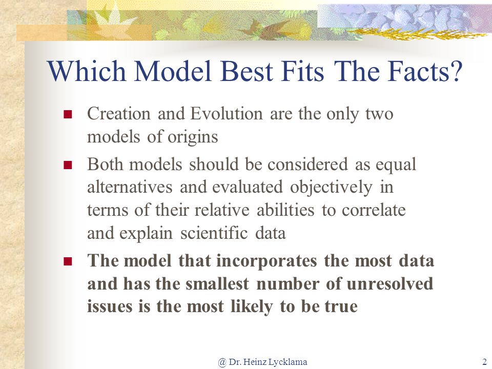 Which Model Best Fits The Facts