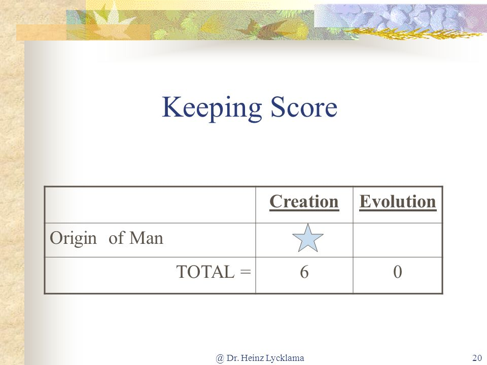 Keeping Score Creation Evolution Origin of Man TOTAL = 6