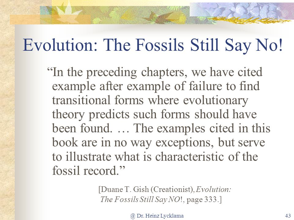 Evolution: The Fossils Still Say No!