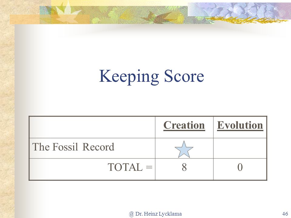 Keeping Score Creation Evolution The Fossil Record TOTAL = 8