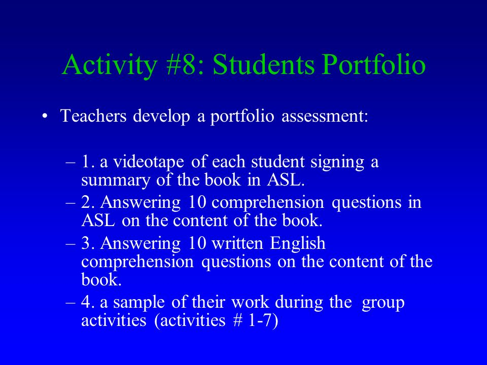 Activity #8: Students Portfolio