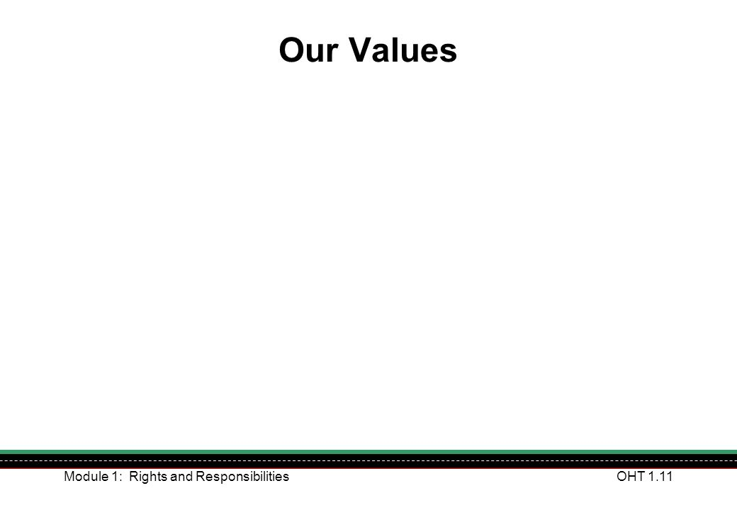 Our Values Module 1: Rights and Responsibilities