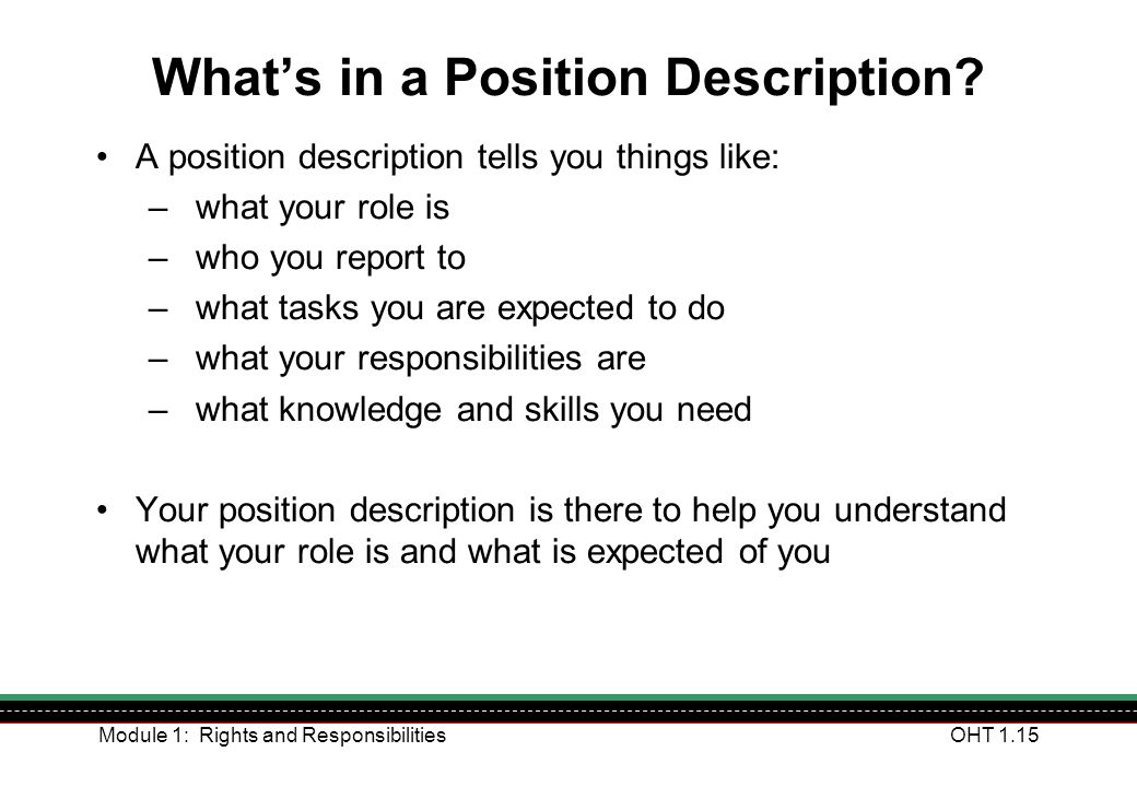 What's in a Position Description