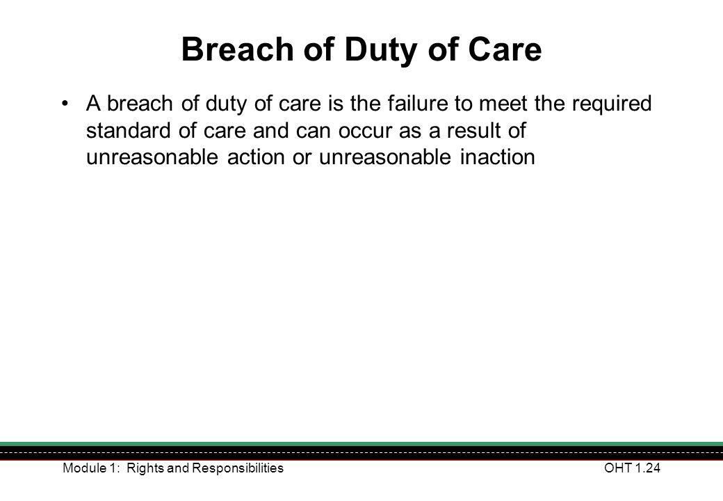 Breach of Duty of Care
