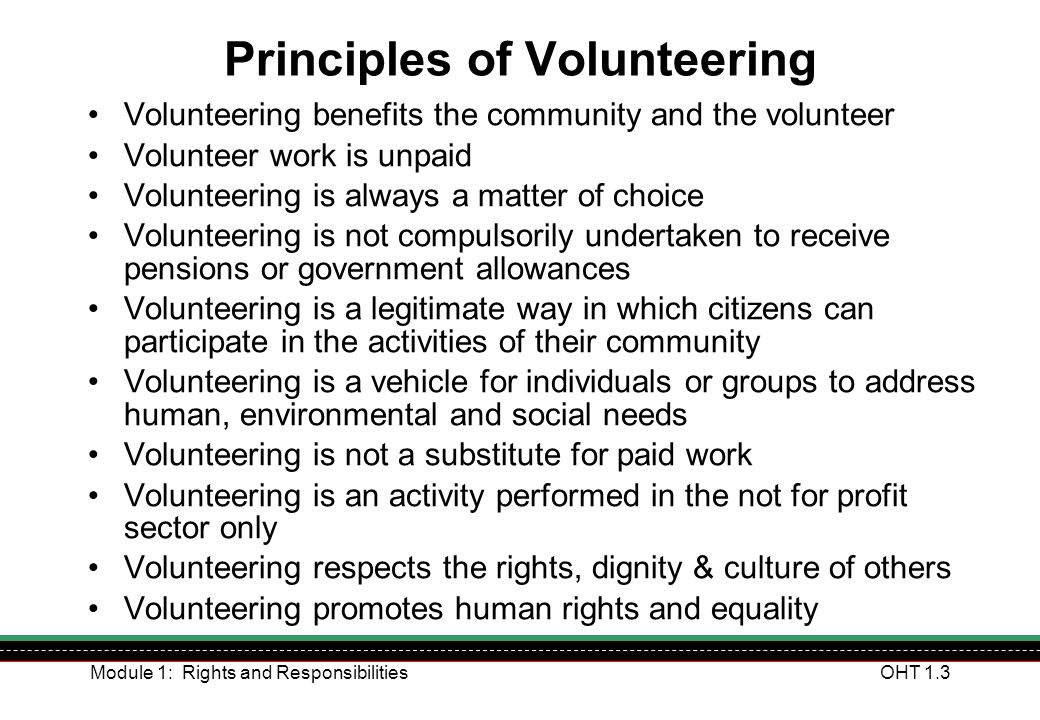 Principles of Volunteering