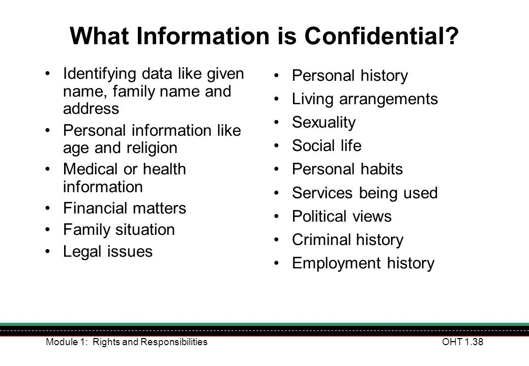 What Information is Confidential