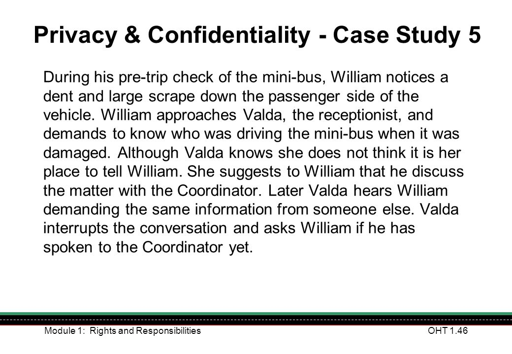 Privacy & Confidentiality - Case Study 5