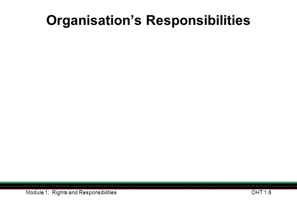 Organisation's Responsibilities
