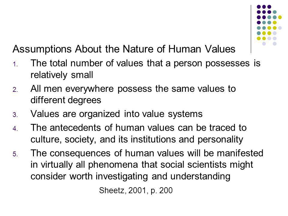 Assumptions About the Nature of Human Values