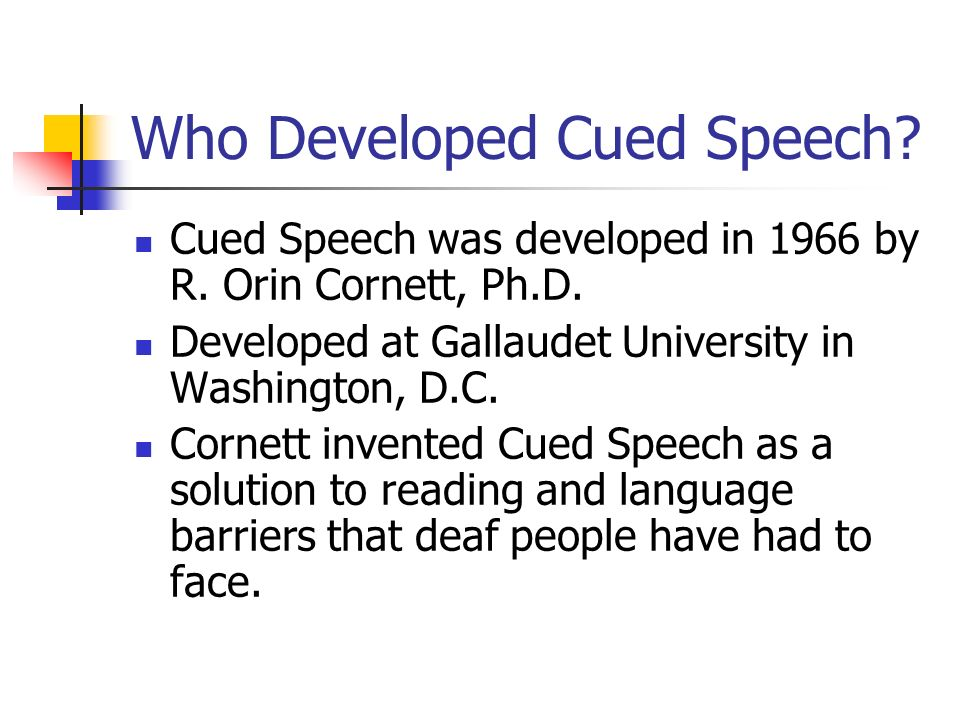 Who Developed Cued Speech