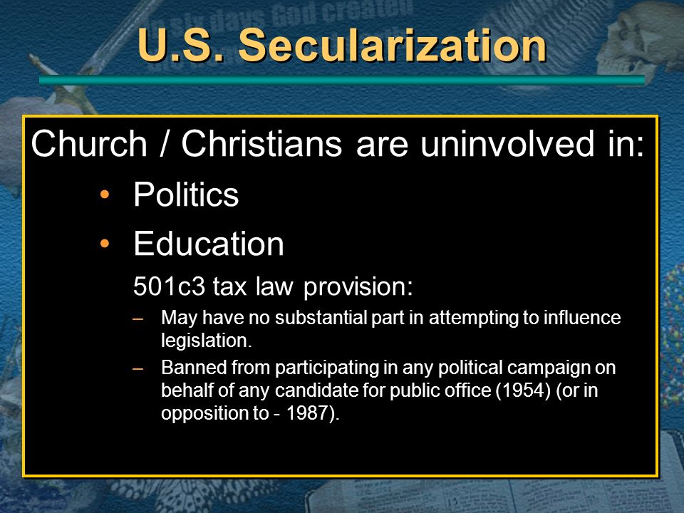 U.S. Secularization Church / Christians are uninvolved in: Politics