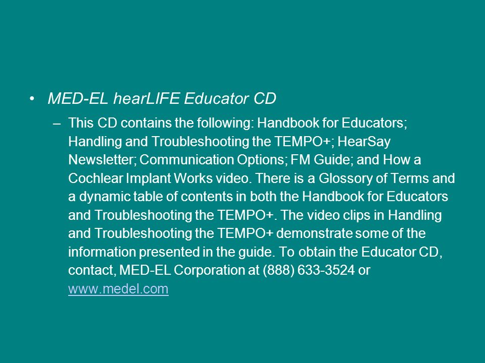 MED-EL hearLIFE Educator CD