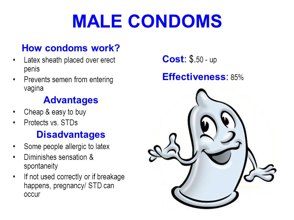 MALE CONDOMS How condoms work Cost: $.50 - up Effectiveness: 85%