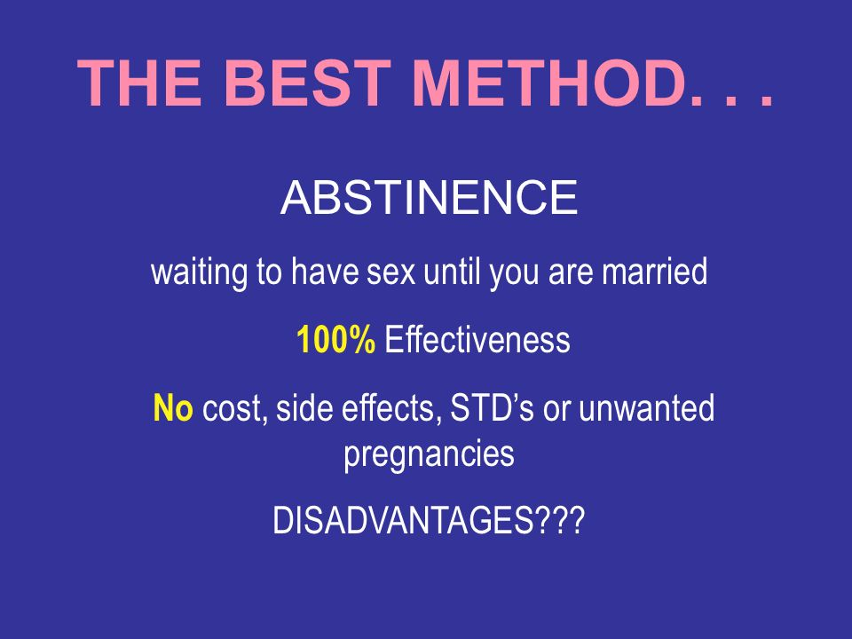 THE BEST METHOD. . . ABSTINENCE