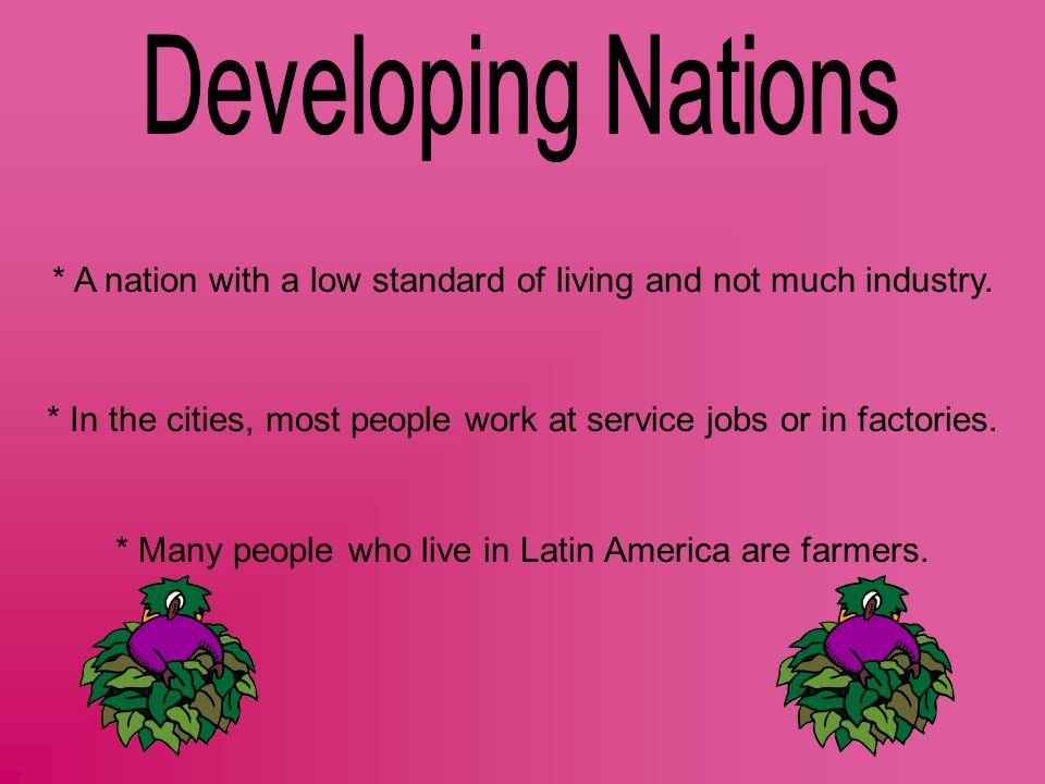 Developing Nations * A nation with a low standard of living and not much industry.