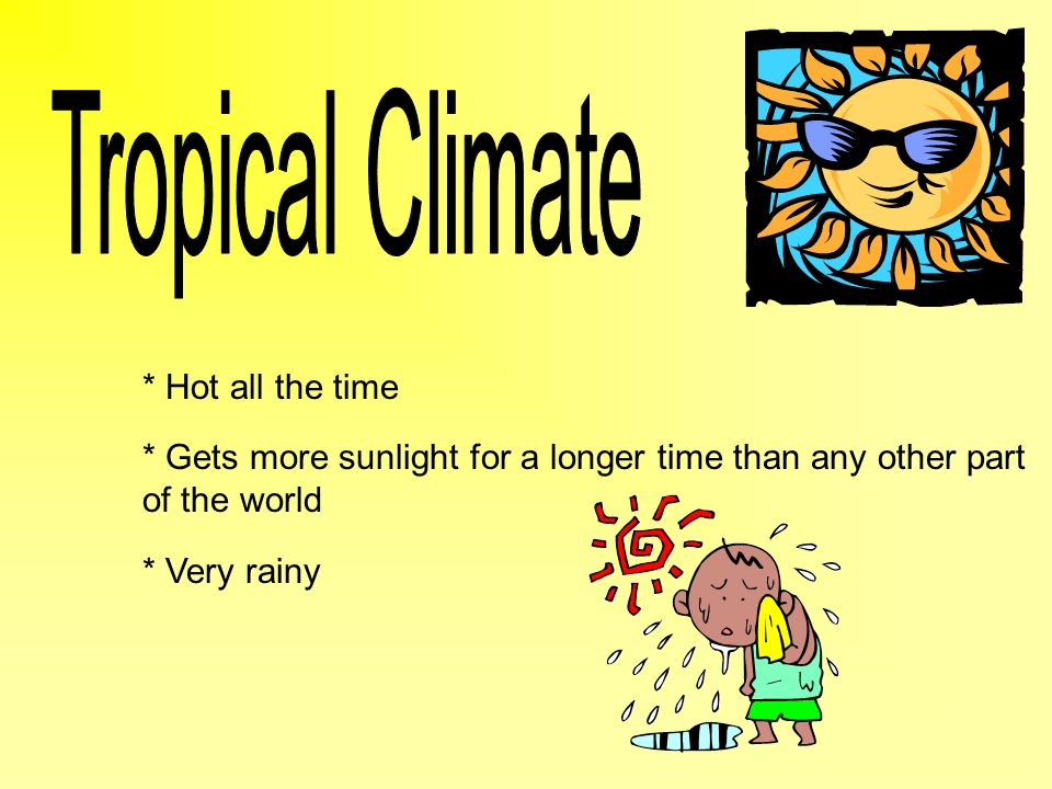 Tropical Climate * Hot all the time