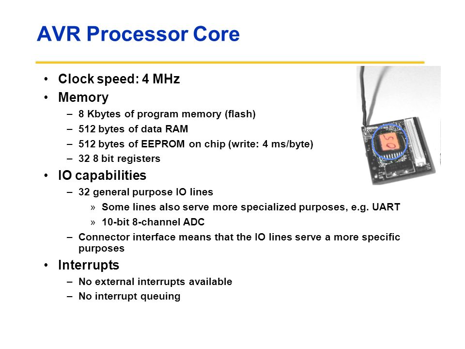 AVR Processor Core Clock speed: 4 MHz Memory IO capabilities