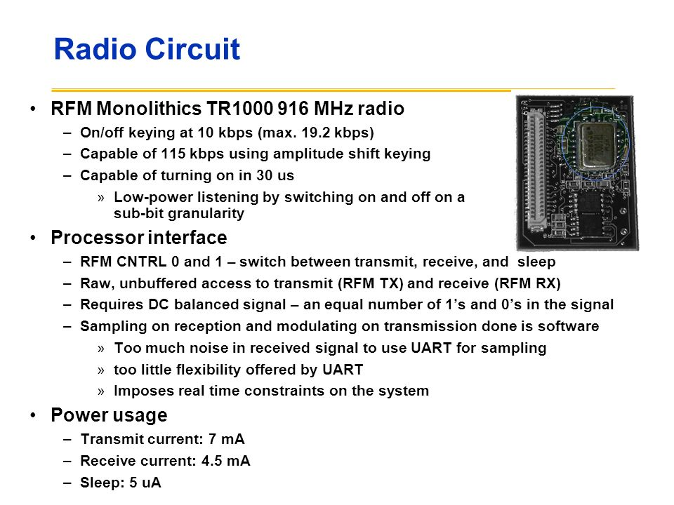 Radio Circuit RFM Monolithics TR1000 916 MHz radio Processor interface