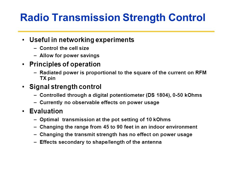 Radio Transmission Strength Control