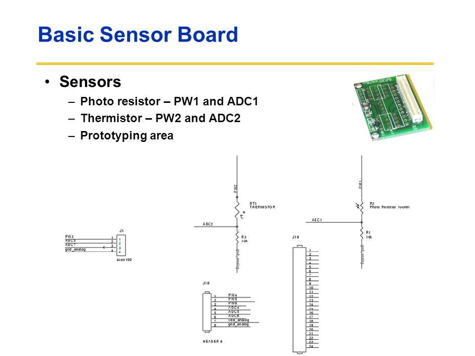 Basic Sensor Board Sensors Photo resistor – PW1 and ADC1