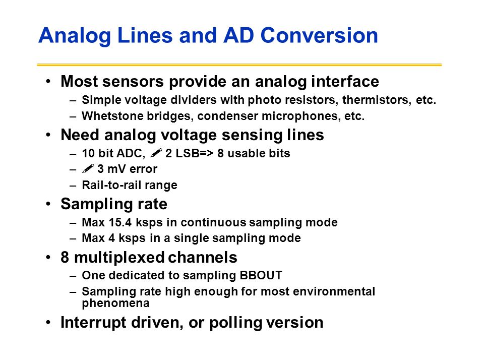 Analog Lines and AD Conversion